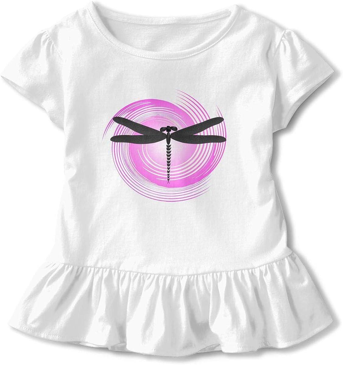 Cheng Jian Bo Retro Circle Dragonfly Toddler Girls T Shirt Kids Cotton Short Sleeve Ruffle Tee