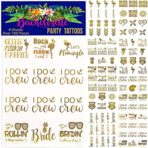 100+ pcs Bachelorette Party Tattoos/Bride Flash Tattoo (8 Sheets) Perforated Temporary Metallic Gold Tattoos Quick Bridal Shower Party Favor Decorations: Bride Tribe, Bridesmaid, Maid of Honor, Funny