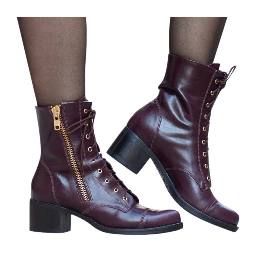 Women's Mid Leather Boots, Lace Up Chunky Heel Retro Army Shoes Flat Point Toe Ankle Booties (US:9.0, Wine)