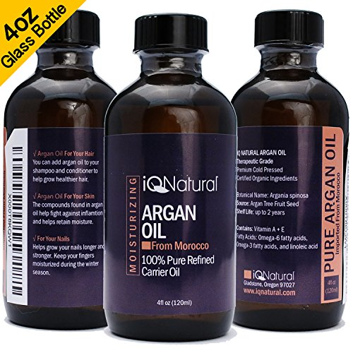 iQ Natural Organic Argan Oil for Hair, Face and Body – 100% Pure Morrocan Oil, Natural Moisturizer, Promotes Smooth Hair, Prevents Signs of Aging, Conditions skin. Premium Quality Cold Pressed - 4oz