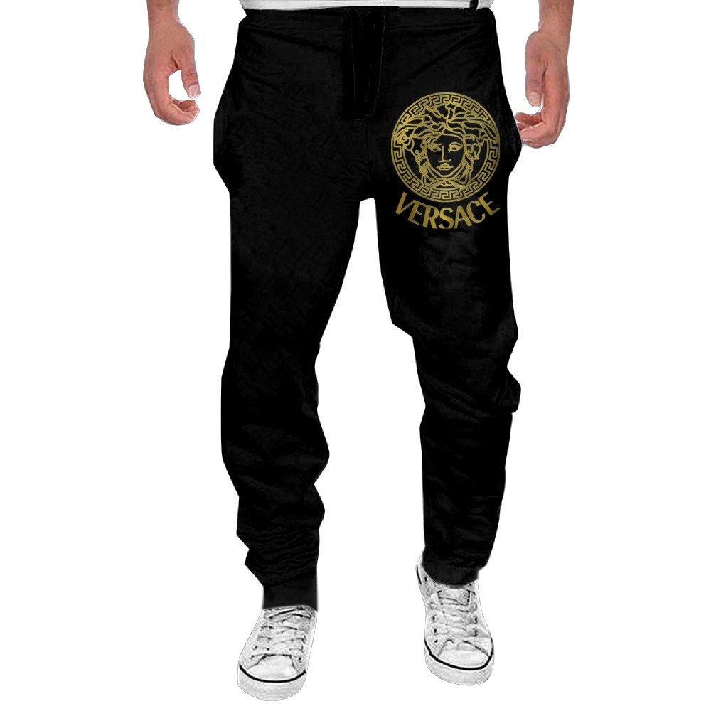 Men's Versace Gold Logo Elastic Athletic Lounge Sweatpants Black M MEMGE
