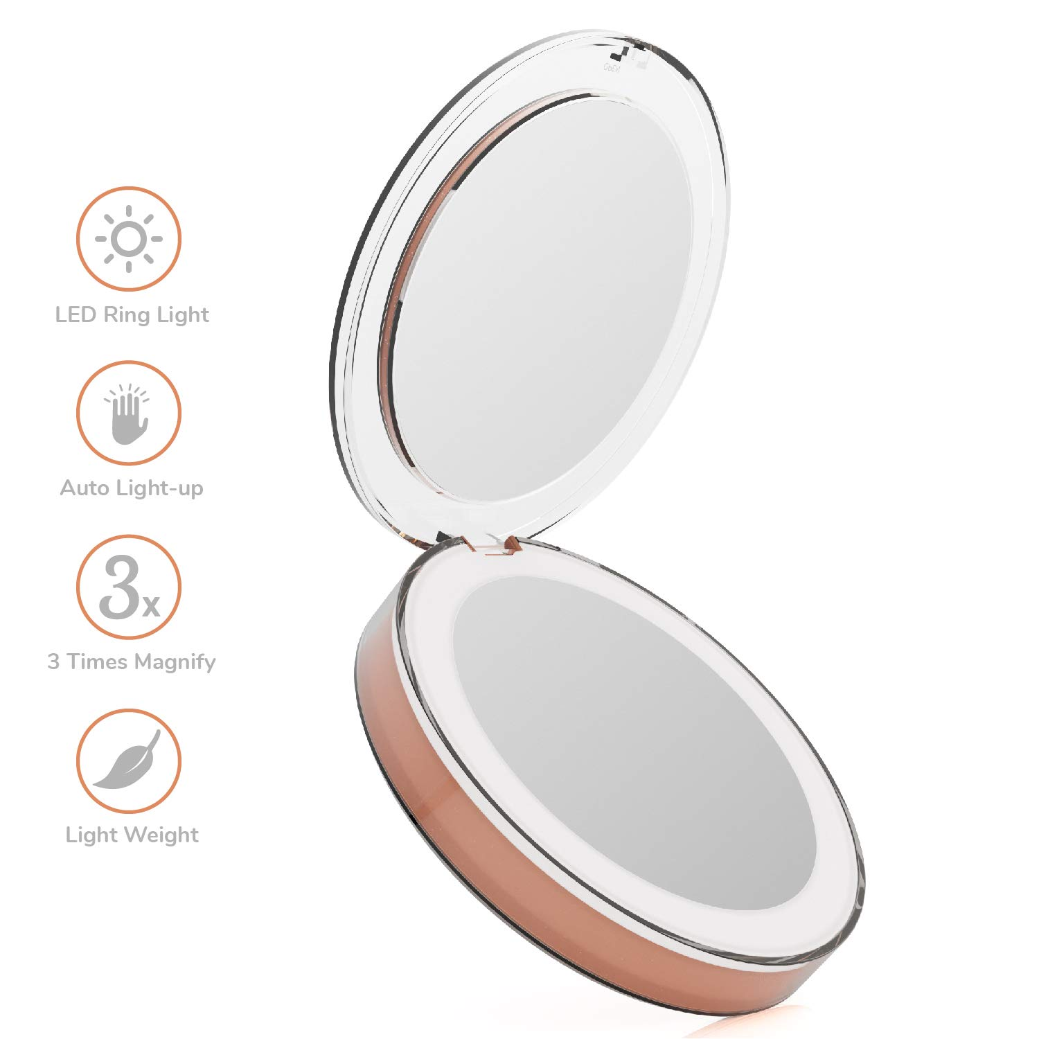 Ustar LED Makeup Mirror Light, 1X 3X Magnification Compact Travel Mirror, USB Rechargeable LED Handheld Cosmetic Mirror, Large 3.34 Illuminated Folding Pocket Mirrors – Pink