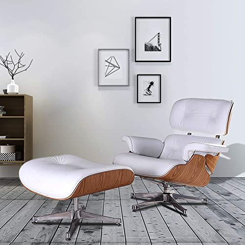 Lounge Chair Indoor Recliner w/Ottoman Top Grain Leather Genuine Classic Mid Century Modern Living Room Bedroom Reading Gaming Comfortable Plywood Swivel Sofa Walnut White Ash Wood