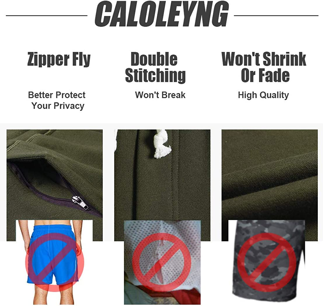 CALOLEYNG Mens Cotton 8 Long Casual Lounge Fleece Shorts Pockets Jogger Athletic Workout Gym Sweat Shorts