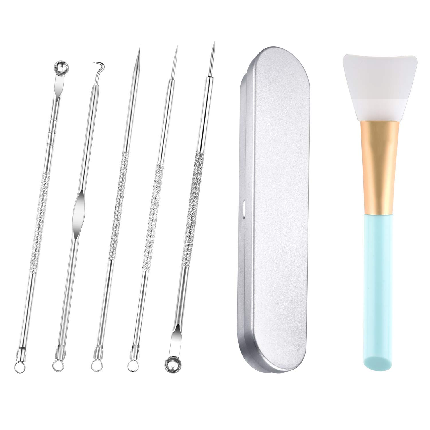NEW Blackhead Remover Comedone extractor Tool Kit & Silicone Head Face Mask (blue) By PERINATION: Safe Stainless Steel tool kit | Removes Blemishes, Whiteheads, Zits & Pimples popper, clean pores.