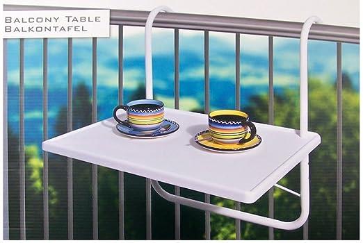 Vetrineinrete® Mesa Blanco de Orificio para balcón o terraza ...