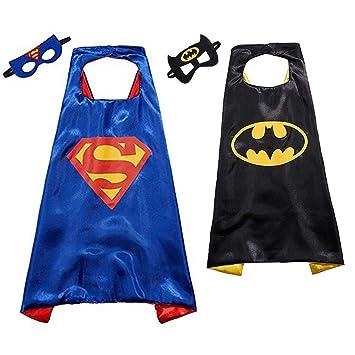 SUPER HERO FANCY DRESS CAPE MASK SET CARTOON LONG CLOAK SUPERMAN OUTFIT COSTUME