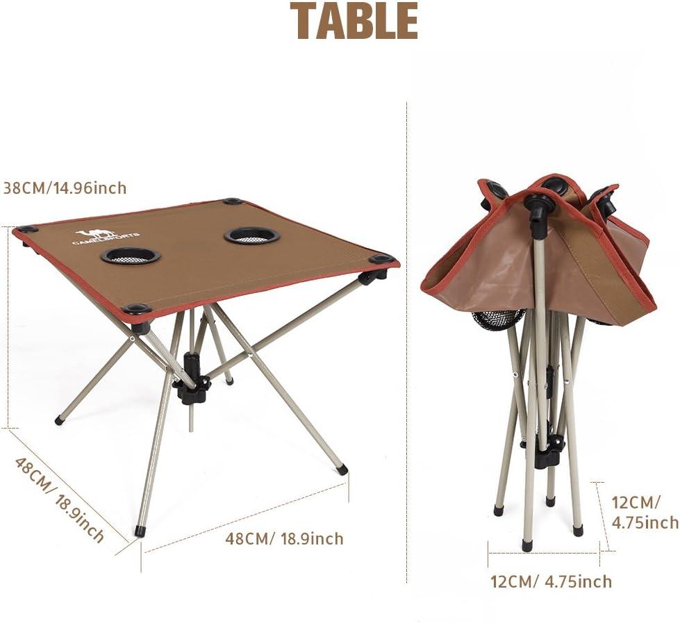 Ideal para Pesca Camel Conjunto de Cinco Piezas Plegable Mesa y Sillas Plegables de Camping Port/átil con Bolsa de Transporte Playa F/ácil de Llevar Picnic y Actividades al Aire Libre Acampar