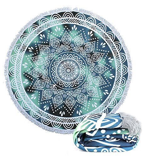 Footalk Upgrade Thick Round Indian Mandala Beach Towels Shawl Large Microfiber Blanket Yoga Picnic Mat (Mandala 1)