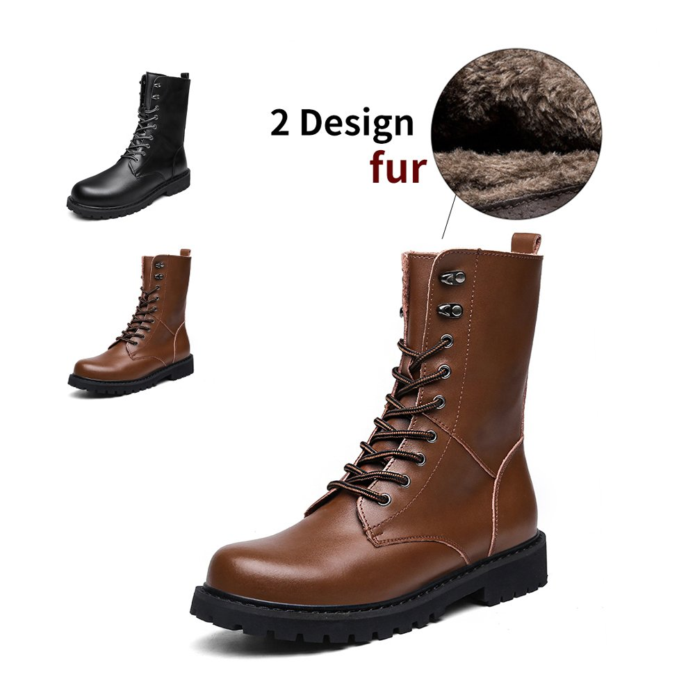 ENLEN&BENNA Men Women Military Tactical Boots Motorcycle Boot Fashion Boots Combat Boots Leather Waterproof Brown