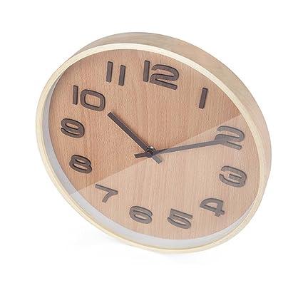 Vinteen Estilo chino Reloj de pared simple de madera Sala de estar moderna muda Dormitorio Mesa