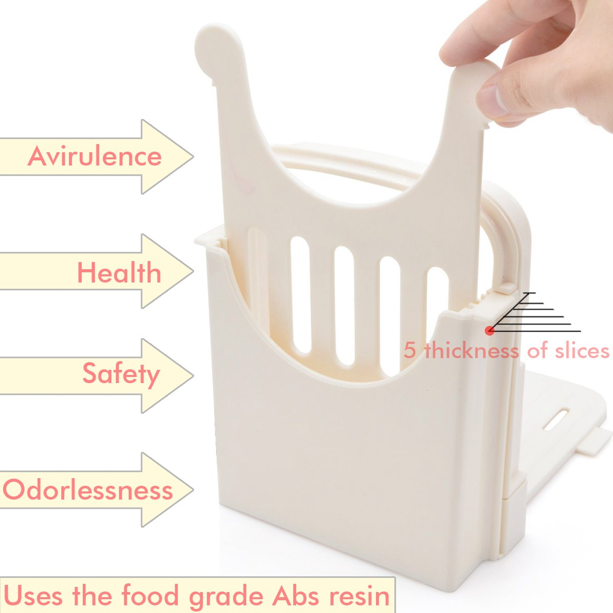 Bread Slicer Customization Toast Slicer Loaf Slicer Cutter for Homemade Bread ABS Environmentally Friendly Plastic Foldable, Bread Cutting Guide and Adjustable with 4 Slice Thicknesses,White by SUMK (Image #4)