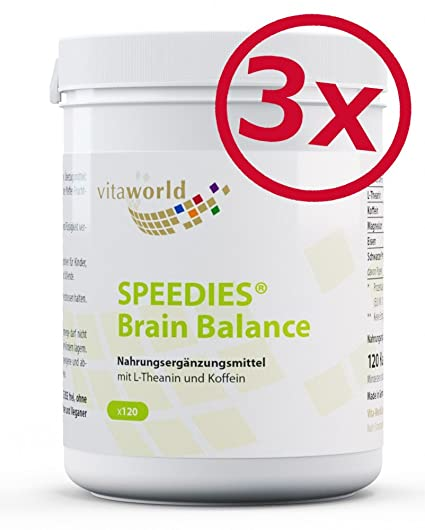 Pack de 3 Vita World Speedies Brain Balance 3 x 120 cápsulas de L-Theanine