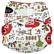 Imagine Baby Products Stay Dry All-in-One Hook and Loop Diaper, Barnyard Jam