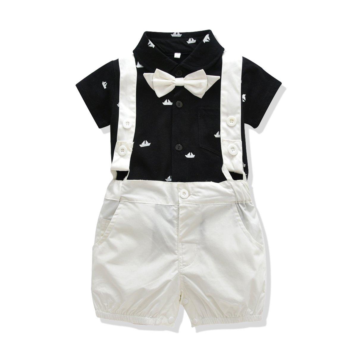 FERENYI US Baby Boys Bowtie Gentleman Romper Jumpsuit Overalls Rompers (0-6 Months, Black 3)