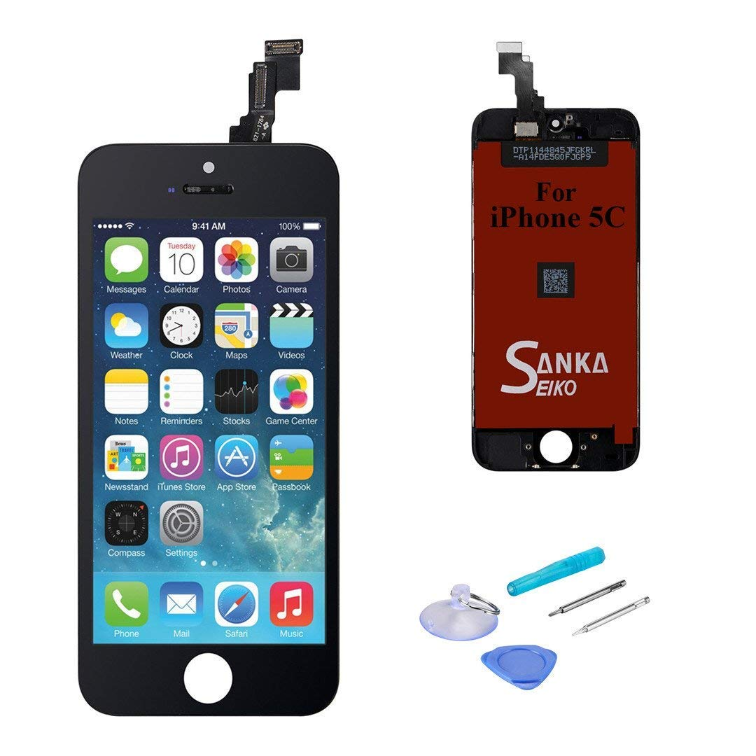 SANKA iPhone 5C LCD Display Screen Replacement Repair Kit, Digitizer Retina Touch Screen Glass Frame Assembly for iPhone 5C - Black (Tools Included)