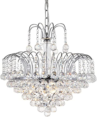 Crystal Chandelier Ceiling Light, JJGD Modern Luxury Raindrop Clear K9 Brilliant Crystal Pendant Lamp for Dining Living Room Bedroom Cafe Hotel E12X6 Bulbs Required Size D19.7 H16.5 Chain 24