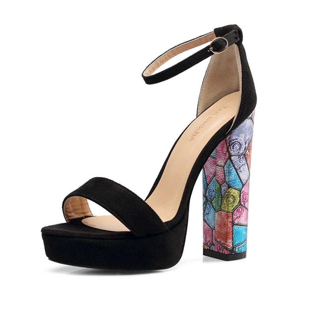 KJJDE Damen Knouml;chelriemchen Sandalen High Heels TLJ-54 Mode Blumen Offene Spitze Heel 8CM Pumps Party  40|Black