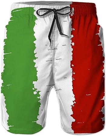 Yuerb Bañador Shorts de Playa para Hombre Shorts Casuales de poliéster Bandera de Italia Hecha a Mano