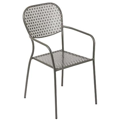 4 x comercial gris acero estampado Bistro sillones ...