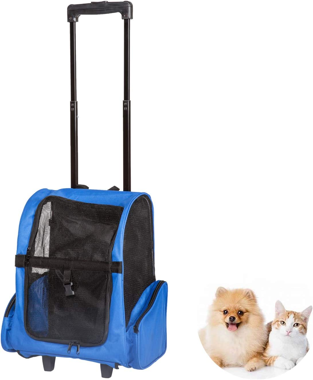 Peach Tree Pet Travel Rolling Backpack Rolling Carrier for Dogs Pet Carrier with Wheels Rolling Pet Travel Tote Airline Approved