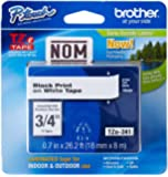 Brother 3/4 Inch x 26.2 Feet Black on White Tape with Super Strong Adhesive (TZS241)