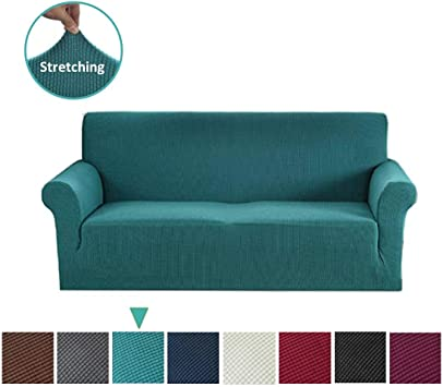 Argstar Jacquard Sofa Slipcover, Dark Cyan Stretch Couch Slip Cover, Spandex Furniture Protector for 3 Cushion Seater, Sofa Cover for Living Room, ...