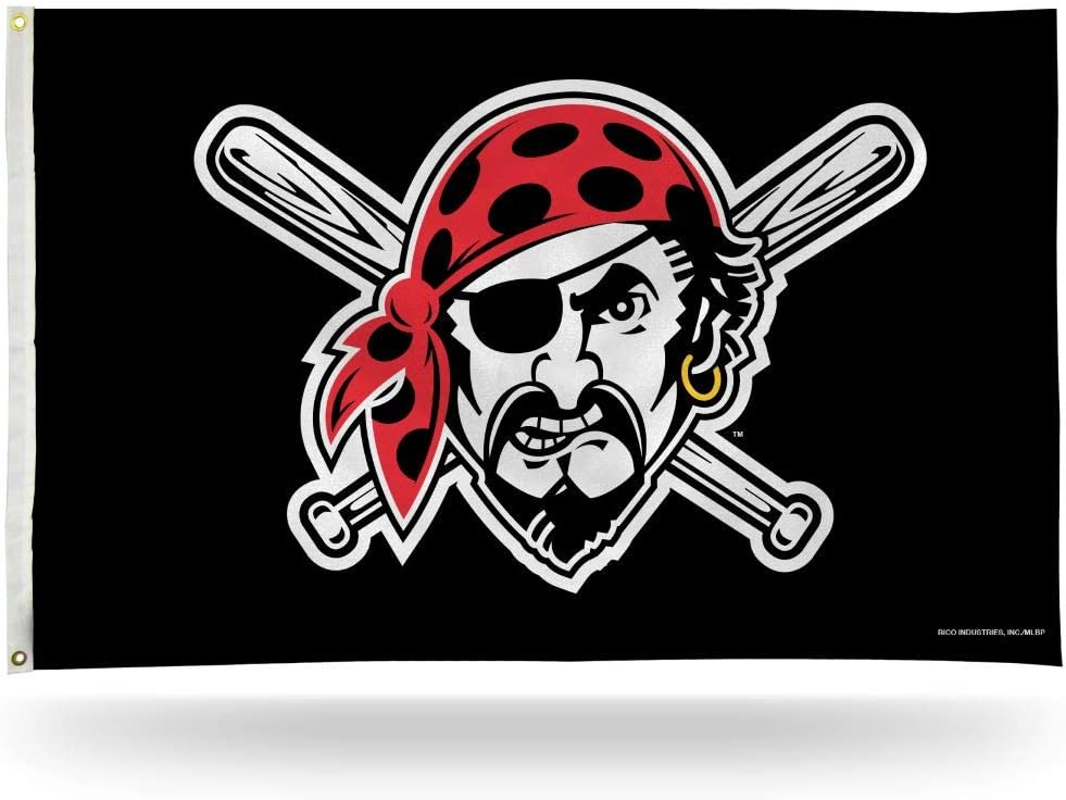 Pittsburgh Pirates Jolly Roger MLB Indoor Outdoor 3x5 Banner Flag with Grommets for Hanging