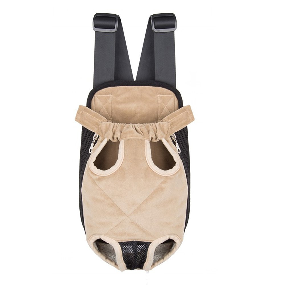 Ultrafun Portable Dog Front Carrier Backpack Legs Out & Breathable Travel Outdoor Bag for Pet Puppy Cat (XL, Beige)