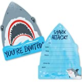 Shark Zone - Shaped Fill-in Invitations - Jawsome Shark Party or Birthday Party Invitation Cards with Envelopes - Set of 12