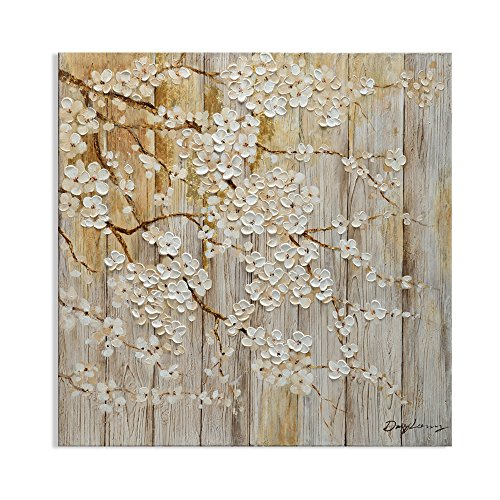 Kas Home Art Modern Abstract Original Design Blooming White Flower Tree Canvas Prints Framed Wall Art Wall Paintings for Living Room Wall Decor (32x32 Inch, A Framed)