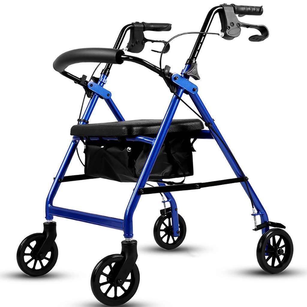 アルミ折り畳み式歩行モビリティエイド、ウォーカー、ロールレーター、高齢者のためのシートとハンドブレーキ付きショッピングトロリー(レッド) (色 : 青)  青 B07HY6TTS1