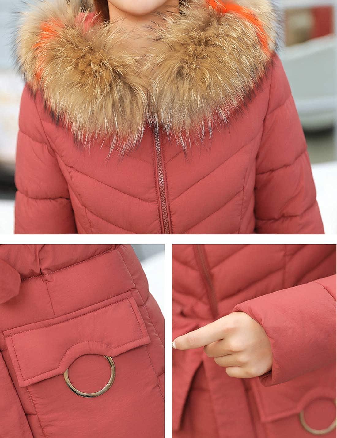 Springrain Womens Winter Fur Hood Windbreaker Coat Down Cotton Long Jacket