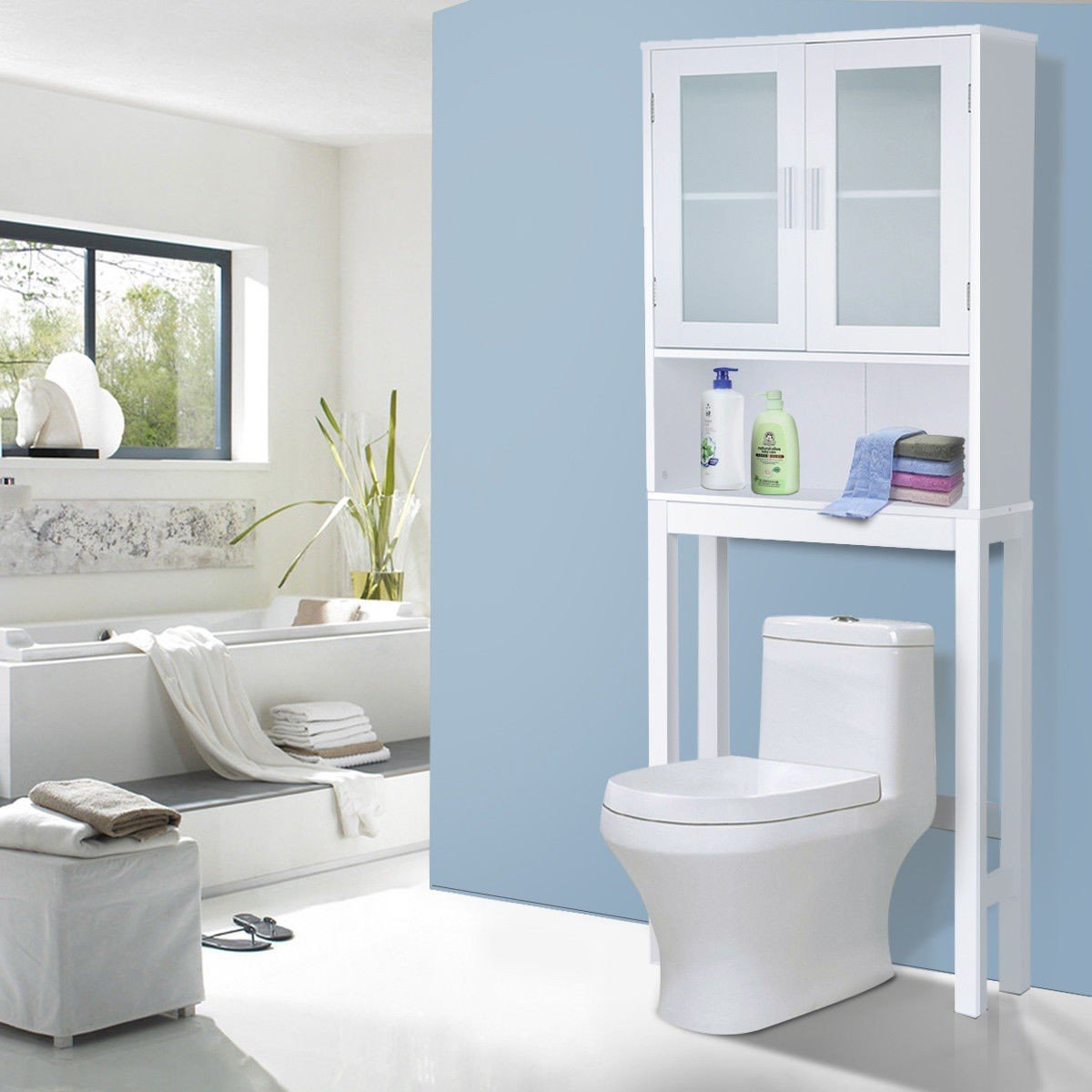 Wooden Storage Cabinet, Bathroom Over-The-Toilet Space Saver Double Door Linen Toiletry Storage Cabinet Tower (61.3) by GentleShower