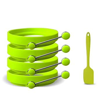 Molde Anillo Para Huevo - Espátulas y recetas gratis incluidas - Silicona BPA profesional antiadherente -