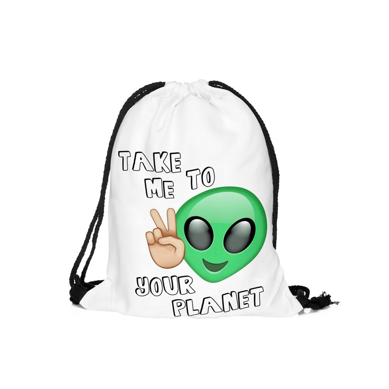 Cool Alien &emoji Series Star 3d printing Drawstring Bags Hellathund