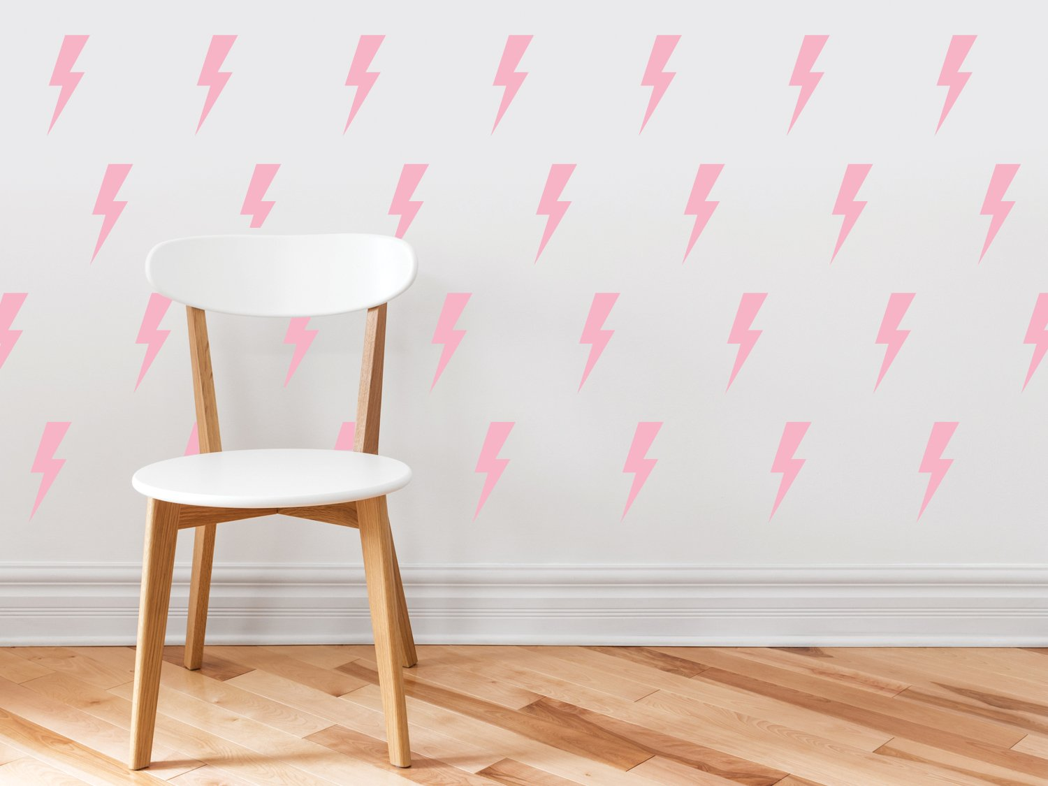 Lighting Bolts Fabric Wall Decals - Set of 50 Thunder Decals - Pink - Non-Toxic, Reusable, Repositionable