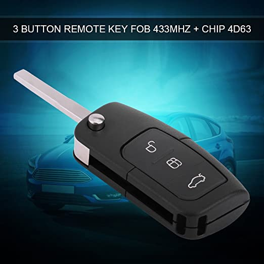 Qiilu 3 Button Remote Key Fob with Chip