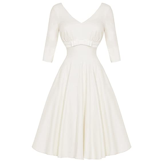 VOODOO VIXEN Dorothy Ivory 1950s Retro Vintage Wedding Bridesmaid Prom Dress 8 S