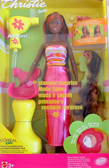 Barbie CHRISTIE GLAMOUR SURPRISE Doll AA w COLOR CHANGE HAIR, Salon Chair & MORE!