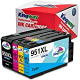 Kingway New Upgraded Chips 950XL 951XL Ink Cartridges Compatible for HP Officejet Pro 8100 8600 8610 8620 8625 8630 251dw 276dw Printers 4 Pack (1 Black,1 Cyan,1 Magenta,1 Yellow)
