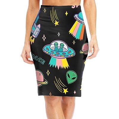 dfgjfgjdfj Cartoon UFO Aliens Women's Slim High Waist Bodycon Pencil Skirts Printed Falda de Fiesta: Ropa y accesorios