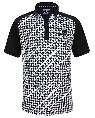 140cdfe6 TattooGolf Houndstooth Print ProCool Men's Golf Shirt (Black) - Small
