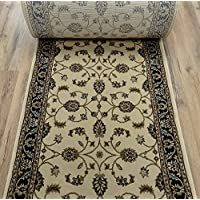 179488 - Rug Depot Valbella VB-4217 Ivory/Navy Kashan Traditional Hall and Stair Runner - 26 Wide Hallway Rug Runner - Custom Sizing - Ivory Background - Choose Your Length - 26 x 14 feet