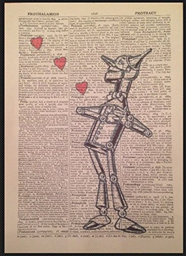 Wizard Of Oz Print Vintage Dictionary Page Wall Art Picture Tinman Love Heart (Wizard Oz Heart Man Of Tin)