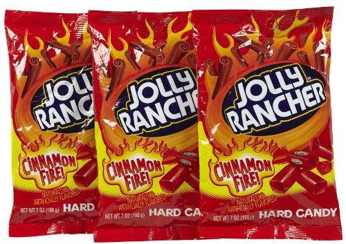 Jolly Rancher Hard Candy Cinnamon Fire Flavor Peg Bag, 7 oz, 3 (Cinnamon Jolly Ranchers)