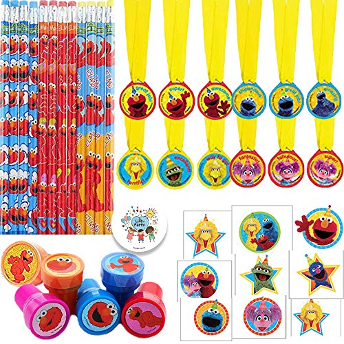 Sesame Street Elmo Birthday Party Favor Pack For 12 Guests With Elmo Pencils, Sesame Street Award Medals, Elmo Stampers, Sesame Street Tattoos, and Exclusive Pin By Another Dream -
