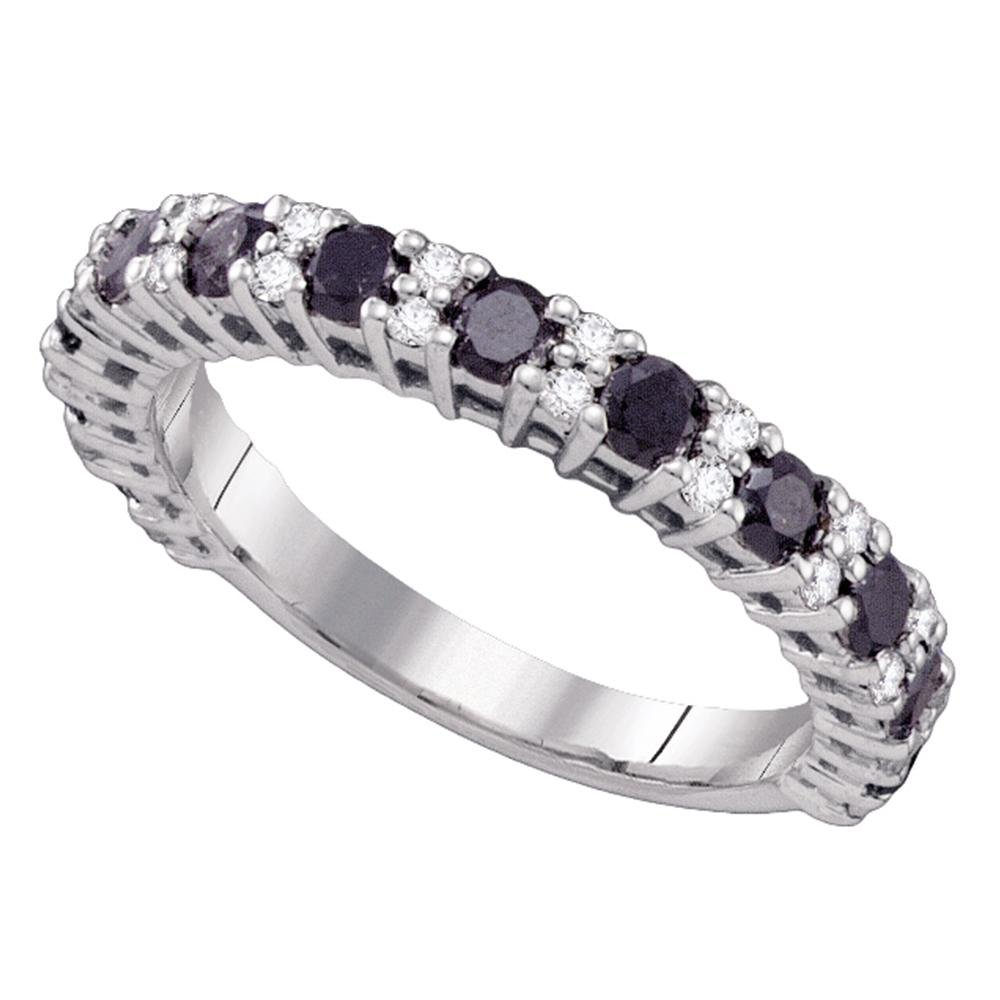 10k White Gold Round Black Diamond Wedding Band Semi Eternity Ring Anniversary Style Polished 1.00 ctw Size 9