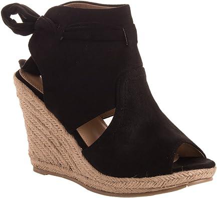Sandales compensées Noeud Femme en Simili Daim Noir à Bout