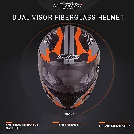 NENKI Casco integrale Moto Motocicletta NK856 con Calotta Esterna in Fibre Composite con doppia visiera,Nero Opaco Giallo Fluo,L omologato ECE 59-60CM